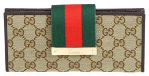 Gucci Gucci Continental Canvas wallet With Classic Stripe