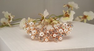 Bridal Rose Gold Faux Pearl Crystal Hair Comb