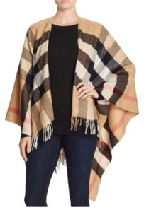 Burberry Burberry Collette Metallic Merino Wool & Cashmere Check Cape