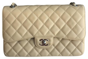 Chanel Beige Caviar Jumbo Shoulder Bag
