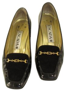 Escada Women Low Heel Suede Leather Crocodrille Black Pumps
