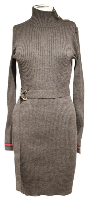 Item - Gray Belted Sweater Mid-length Short Casual Dress Size 12 (L)