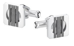 Montblanc Montblanc Cufflinks Square Steel Three Rings Grey Pvd 111335