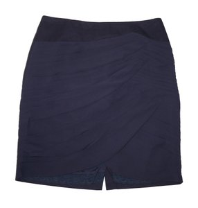 Anthropologie Pleated Ruched Chiffon Navy Skirt