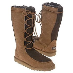 UGG Australia Ugg Winter Two Tone Lace Up Chic Multi- Brown and Tan Boots