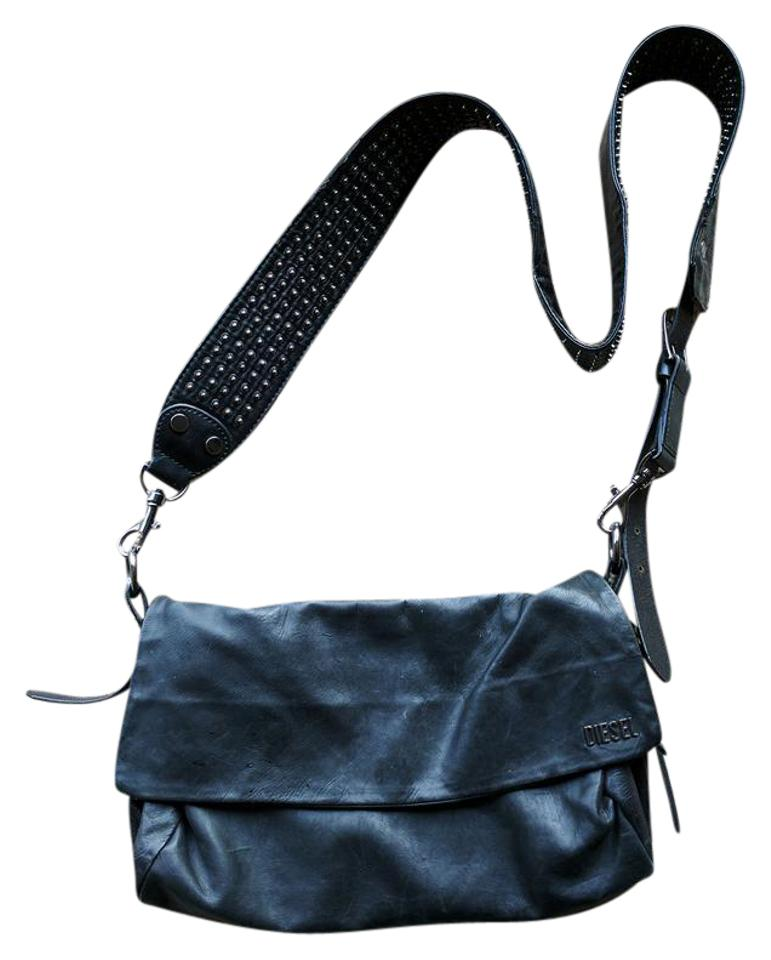 Diesel Unplugged Suzzy Black with Metallic Decor. Leather Cross Body ... 1793119152382