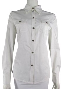 Escada Women's Blouse Blouse Longsleeve Button Down Shirt White