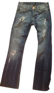 Emporio Armani Armani Destructed Distressed Straightleg Boot Cut Jeans-Distressed