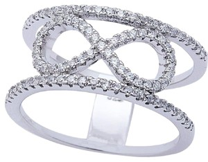 9.2.5 Rare infinity white sapphire love knot wide cocktail ring. Size 7