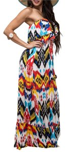Multicolor Maxi Dress by T-Bags Los Angeles Tube Ruffle