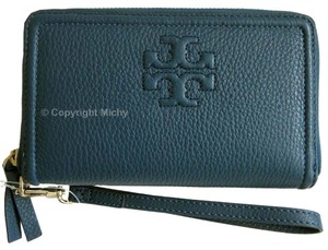 Tory Burch Thea Leather Zip Around Phone Wristlet in Tidal Wave (Blue)