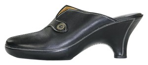 Cole Haan Leather Wedge Black Mules