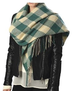 Green Plaid Check Fringe Scarf Wrap