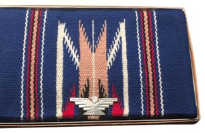 Vintage chimayo wool blanket clutch vibrant Blue, Red, Black, Tan And Cream Clutch