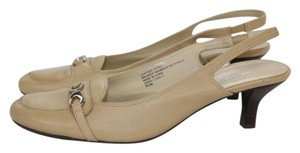 Naturalizer Leather Cream Mule Slingback Beige Cream Pumps
