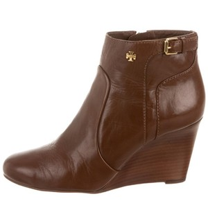 Tory burch leather wedge bootie brown / tan Boots