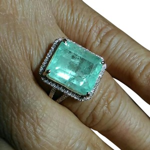 Other SALE*9.14CT NATURAL COLOMBIAN EMERALD DIAMOND 10K ROSE GOLD RING