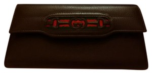 Gucci Brown w Classic Gucci Logo Wallet Clutch
