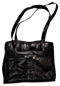 Multiple Pockets Zippered Satchel in Black