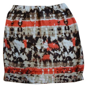 Vince Camuto Pattern Print Orange Skirt Multicolor