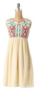 Anthropologie short dress cream Bohemian Embroidered Colorful on Tradesy