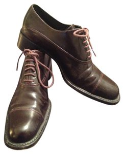 Prada Oxford Lace-up Leather Narrow Brown Flats