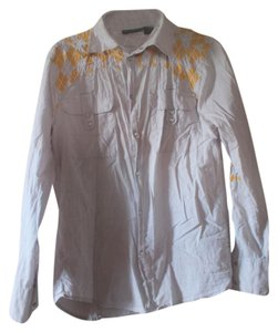 Urban Outfitters Snap Buttons Western Mens Button Down Shirt Grey with yellow argyle patchwork/embroidery