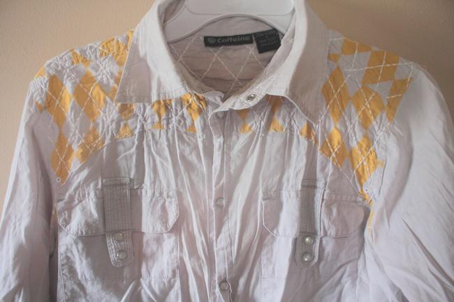 Urban Outfitters Snap Buttons Western Mens Button Down Shirt Grey with yellow argyle patchwork/embroidery Image 1