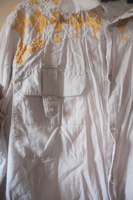 Urban Outfitters Snap Buttons Western Mens Button Down Shirt Grey with yellow argyle patchwork/embroidery Image 2