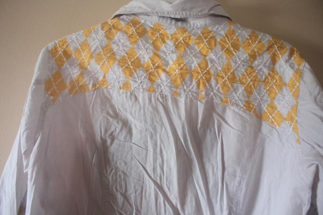 Urban Outfitters Snap Buttons Western Mens Button Down Shirt Grey with yellow argyle patchwork/embroidery Image 3
