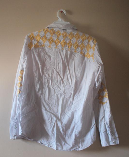 Urban Outfitters Snap Buttons Western Mens Button Down Shirt Grey with yellow argyle patchwork/embroidery Image 6