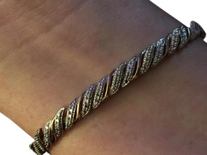 Other Tennis Bracelet 10k Gold over Sterling Silver With Diamond Chips