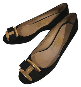 Salvatore Ferragamo Bow Black Wedges
