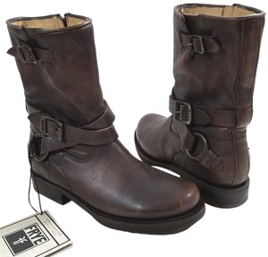 Frye Short Stacked Heel Leather Lined Leather Upper Maple Boots