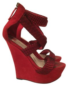 bebe Red and Black Wedges