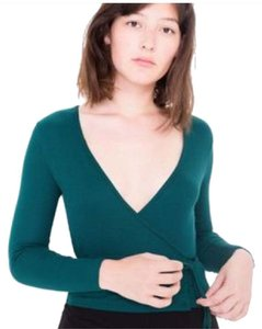 American Apparel 2x2 Ribbed Wrap Stretchy Top GREEN