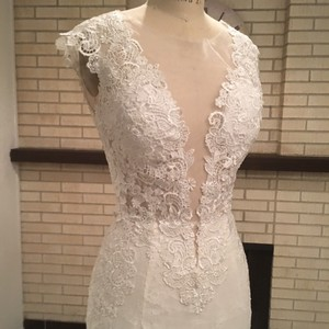 All Lace Sexy Sheer Low Back Low Front (brand New Never Worn) Sz 6/8 Wedding Dress