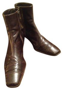 Paul Green Zip Up Leather Dark Brown Boots