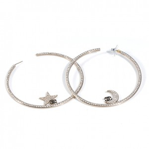 Chanel NEW Chanel Large Crystal Moon Star Embellished Hoop Earrings