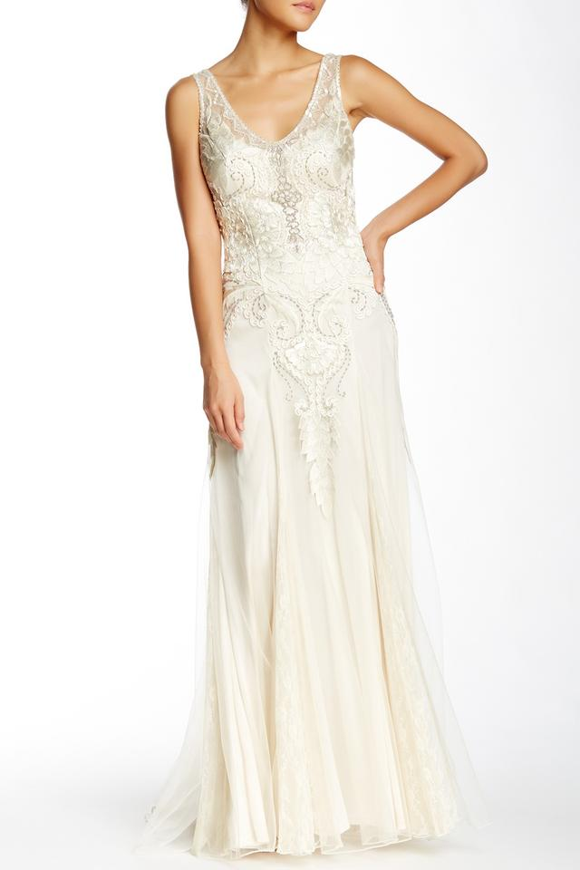 Sue Wong Ivory Embroidered Mesh Gown Vintage Wedding Dress Size 8 M