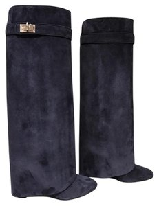 Givenchy Shark Lock Suede Wedge Boot blue Boots