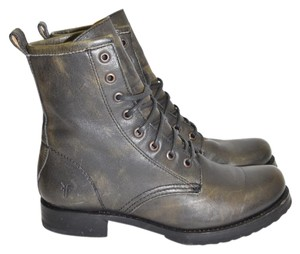Frye Moto Biker Women Combat DISTRESSED BLACK Boots