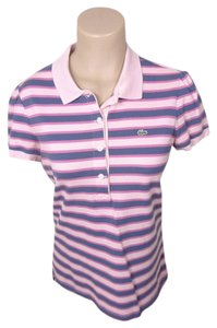 Lacoste Polo Striped Top pink