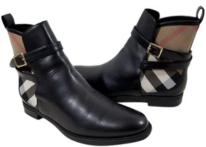 Burberry Soft Leather Check-print Black Boots