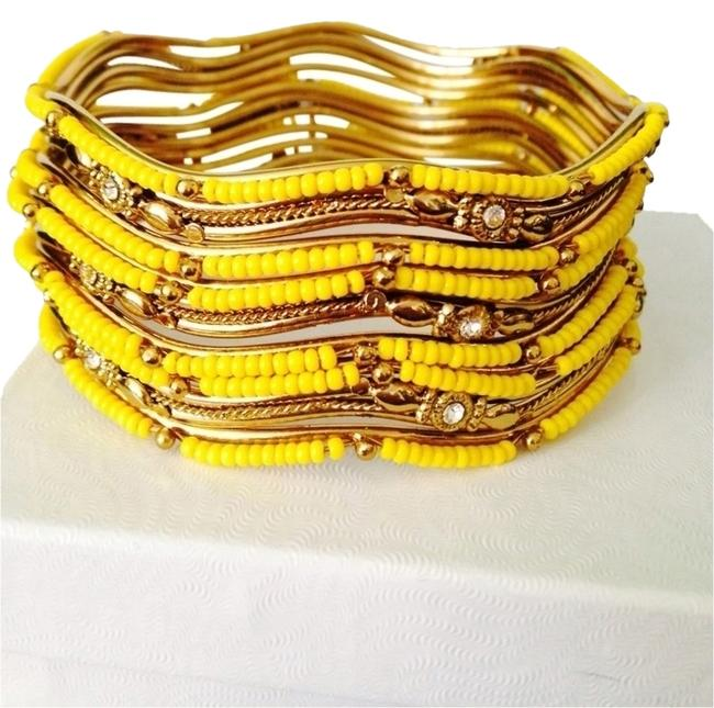 Item - Yellow/Gold Goa Wave Bangle Set