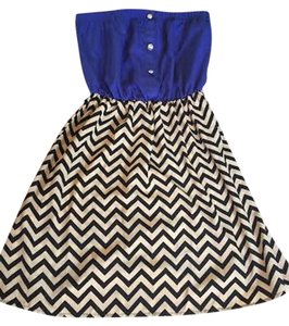 Other short dress Dark blue, creme, and black White Chevron Strapless on Tradesy