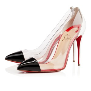 Christian Louboutin Debout Pvc Patent Leather Pointed Toe Black, Clear, White Pumps