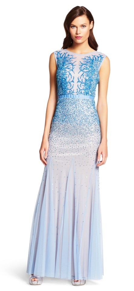 Adrianna Papell Sky Blue Beaded Gown with Illusion Neck Long Formal ...