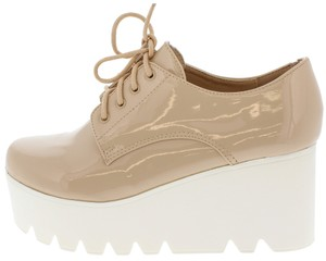 Qupid Wedge Creeper Faux Patent Nude Platforms