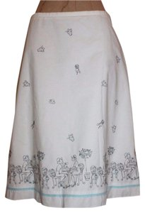 Ann Taylor LOFT Tea Embroidered A-line Skirt ivory